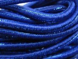 elastisch draad/stiek 3 mm blauw met glimmende streep