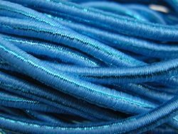 elastisch draad/stiek 3 mm aqua blauw met glimmende streep