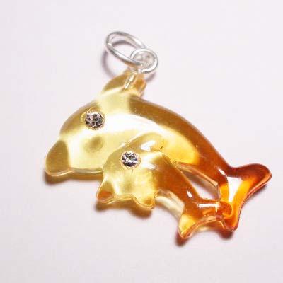 acryl dolfijnen geel oranje 16x22 mm