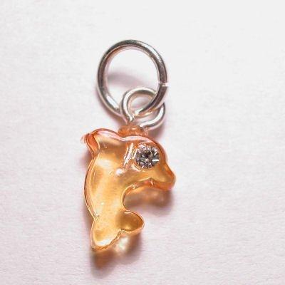 acryl dolfijntje geel oranje 7,5x9 mm