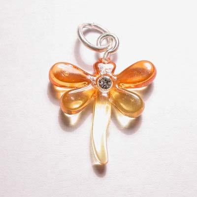 acryl libelle geel oranje 16x17 mm