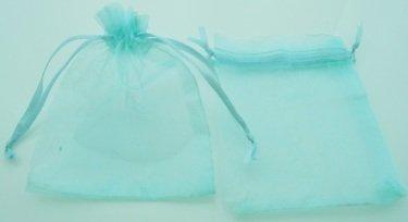organza zakje l.aquamarijn blauw 120x90 mm