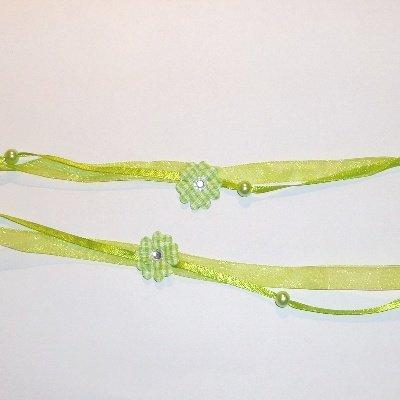 Dubbel lint met bloem groen