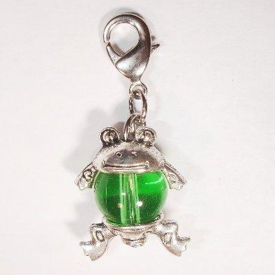 Easy Charm kikker met glaskraal groen 37x15 mm