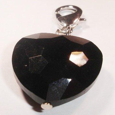 Easy Charm glas facet hart zwart 41x21 mm