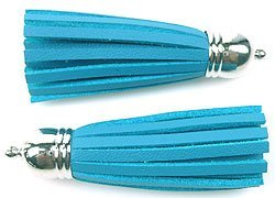 metal look hanger/imitatieleer kwast blauw