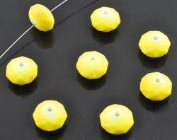 Kunststof kraal rondel facet geslepen NEON geel
