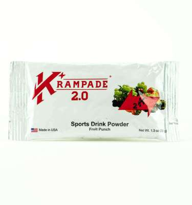 Krampade 2.0 2K fruit punch flavor, single serving packet, 2000 mg of potassium per serving, 50 mg of magnesium per serving, designed for athletes as an alternative sports drink to traditional sports drinks, excellent taste and function for stopping and preventing cramp formation