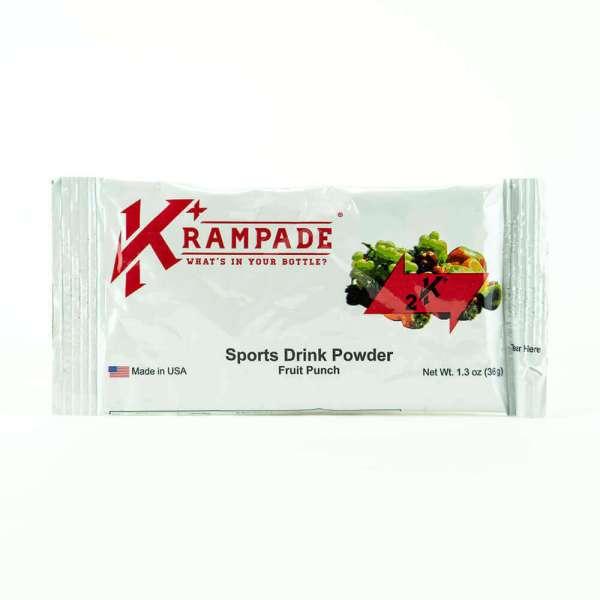 Krampade Original 2K fruit punch flavor, single serving packet, 2000 mg of potassium per serving, designed for athletes as an alternative sports drink to traditional sports drinks