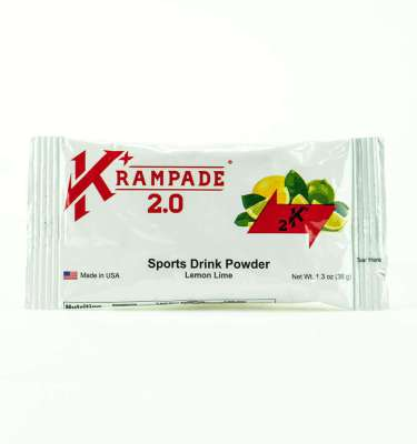 Krampade 2.0 2K lemon lime flavor, single serving packet, 2000 mg of potassium per serving, 50 mg of magnesium per serving, designed for athletes as an alternative sports drink to traditional sports drinks, excellent taste and function for stopping and preventing cramp formation