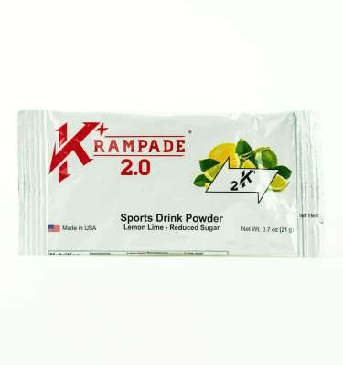 Krampade 2.0 2K reduced sugar lemon lime flavor, single serving packet, 2000 mg of potassium per serving, 50 mg of magnesium per serving, designed for athletes as an alternative sports drink to traditional sports drinks, excellent taste and function for stopping and preventing cramp formation