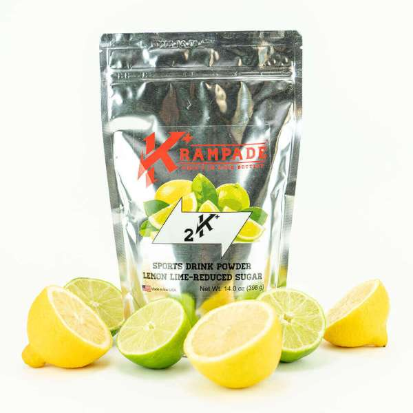 Krampade Original 2K reduced sugar lemon lime flavor, 19 serving resealable pouch, 2000 mg of potassium per serving, designed for athletes as an alternative sports drink to traditional sports drinks