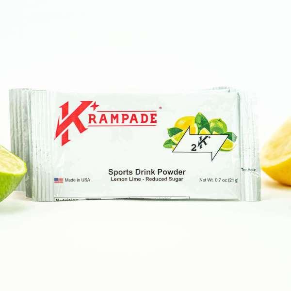 Krampade Original 2K reduced sugar lemon lime flavor, single serving packet, 2000 mg of potassium per serving, designed for athletes as an alternative sports drink to traditional sports drinks