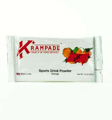 Krampade Original 2K orange flavor, single serving packet, 2000 mg of potassium per serving, designed for athletes as an alternative sports drink to traditional sports drinks