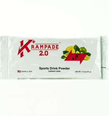 Krampade 2.0 4K lemon lime flavor, single serving packet, 4000 mg of potassium per serving, 60 mg of magnesium per serving, designed for acute, active cramping commonly associated with athletics and athletes, instant cramp relief, improved taste and function