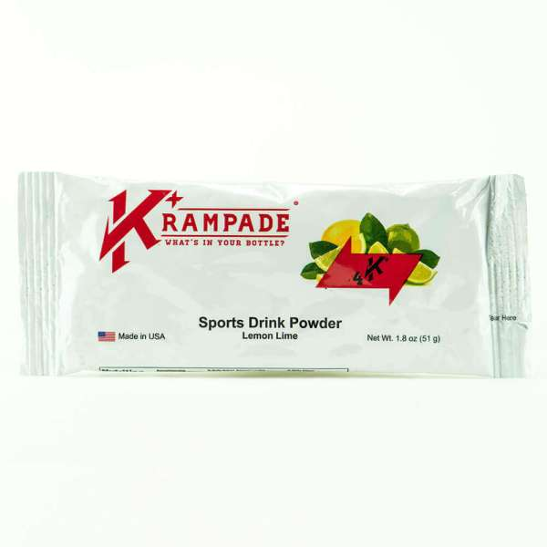 Krampade Original 4K lemon lime flavor, single serving packet, 4000 mg of potassium per serving, designed for acute, active cramping commonly associated with athletics and athletes, instant cramp relief