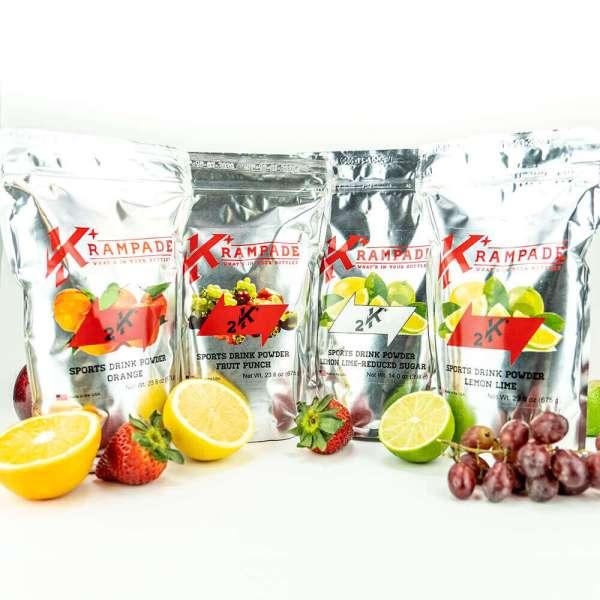 krampade 2k bundle with fruit punch lemon lime and orange; features fruit alongside pouchs