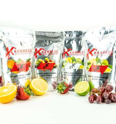 krampade 2k bundle with fruit punch lemon lime and orange; features fruit alongside pouchs