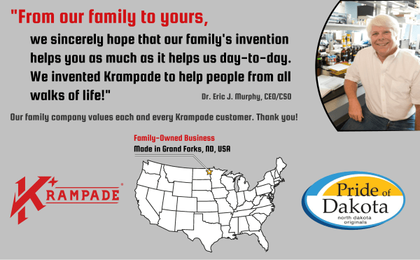 From our family to yours, we want to help you live better everyday with our family invention, Krampade.