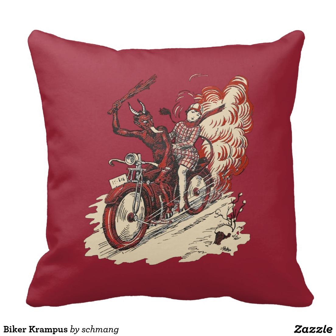 Biker Krampus Throw Pillow – Krampus Christmas Gifts