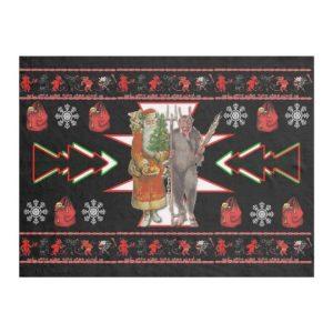 Southwest Christmas Krampus Design Fleece Blanket