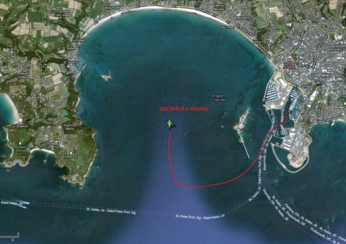 Místo incidentu. Ostrov Jersey.