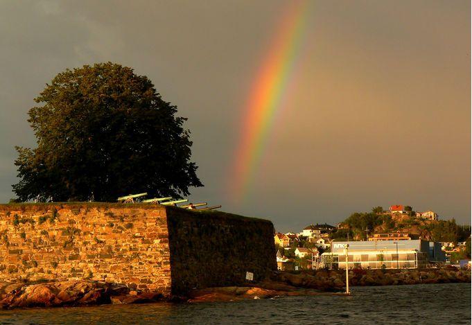 Duha nad pevností v Kristiansandu