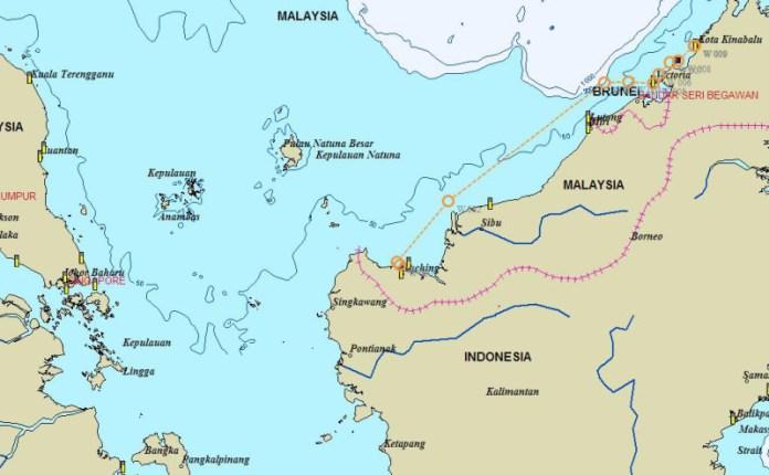 Mapka celé plavby Kuching - KK