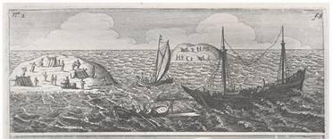 Obraz znázorňující ztroskotání lodi Batavia.