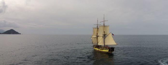 La Grace na novoroční zkušební plavbě.