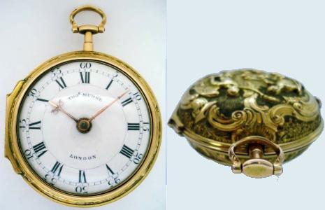 Obr. 10: Kapesní hodinky z roku 1755. Průměr 50,5mm. Zdroj [9]