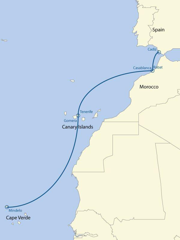 Trasa závodu Africa Europe Challenge.