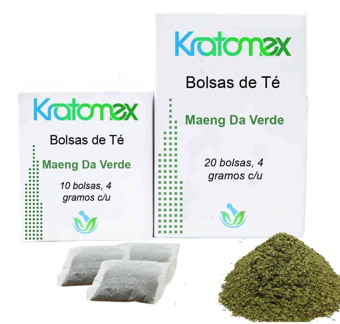 Cajas de Bolsas de Té de Maeng Da Verde Kratom y hojas de Maeng Da Verde Kratom