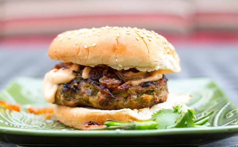 Cilantro & Chilli Chicken Burger with Spiced Fried Onions