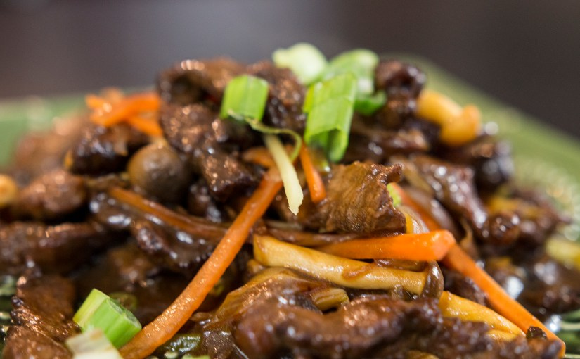 Ginger Beef with Shemeji Mushrooms