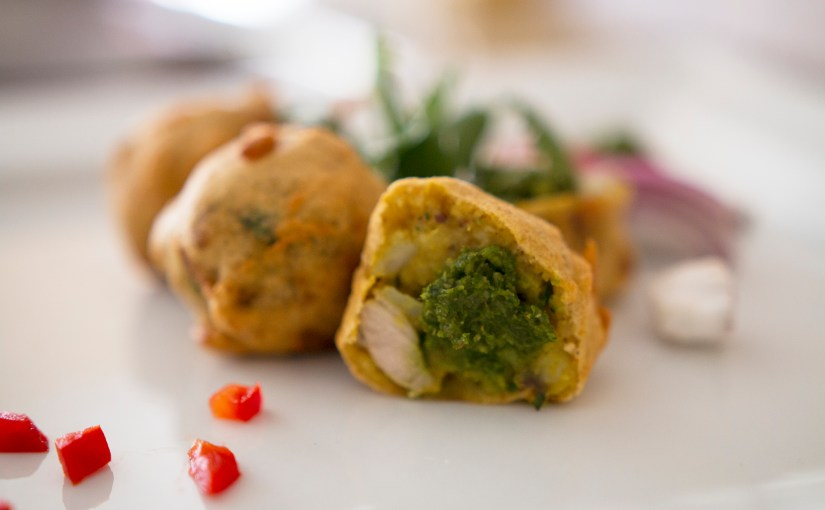 Bollypop – A delicious gluten free potato and chicken ball in a crispy chickpea batter with a chutney pop