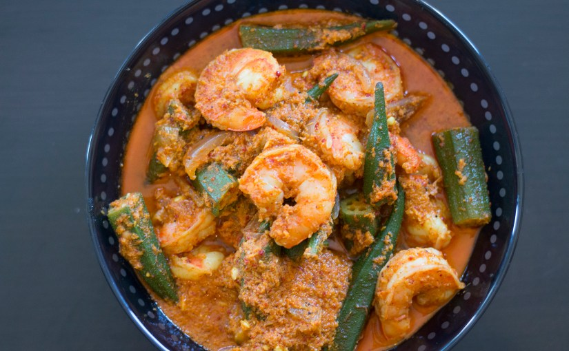 Prawn with Bhindi & Bimli – Shrimp & Okra Curry with pickles