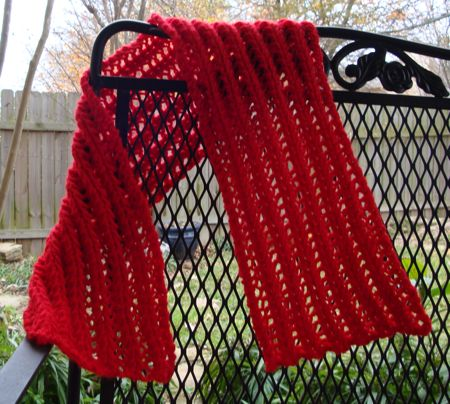 knit openwork rib scarf pattern 1