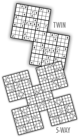 Samurai Sudoku Puzzles by Krazydad