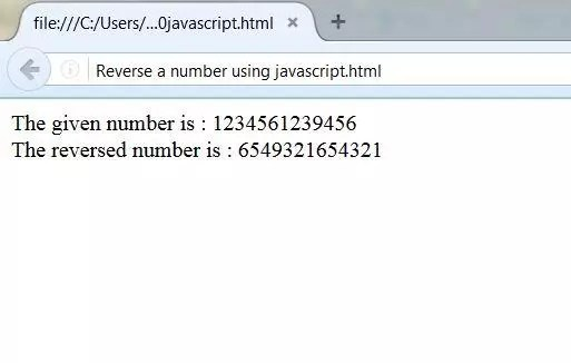 Output of a reversed number using javascript