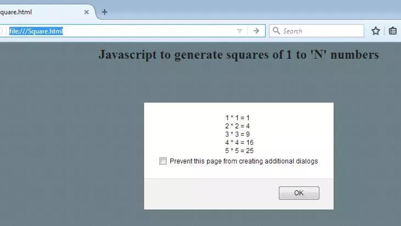 Javascript to generate squares of 1 to n numbers - Krazytech