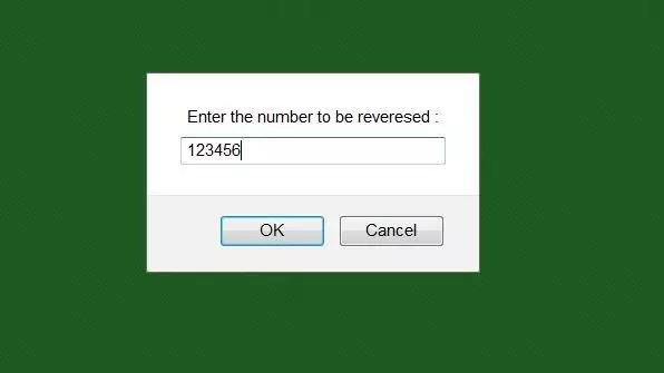 Inputs to reverse a number using java script code