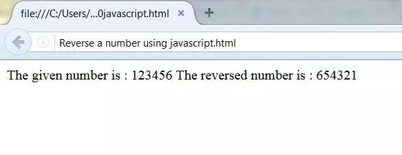 Output of a reversed number using java script code