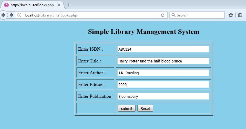 Enter book details for a Simple Library Management System