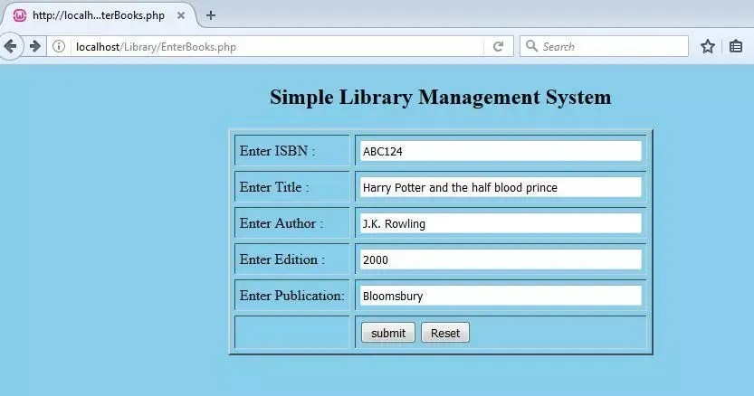 Simple Library Management System In Php Using Mysql