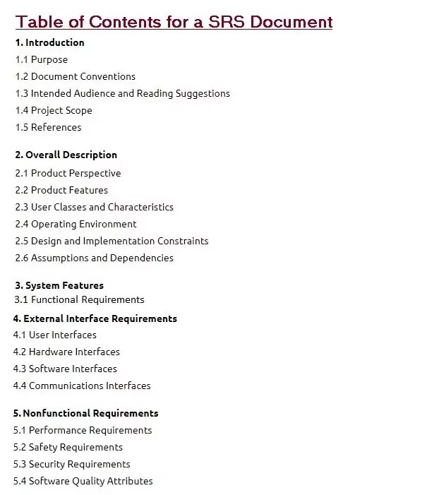 Software requirements specification document with example for Srs software requirement specification template