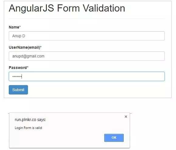 Form validation in AngularJS - Successful