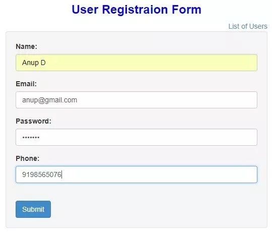 User Registration Form Example In Angularjs  Krazytech