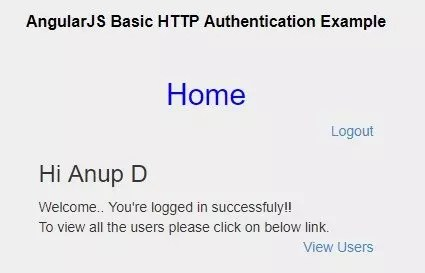AngularJS basic authentication example - Home page