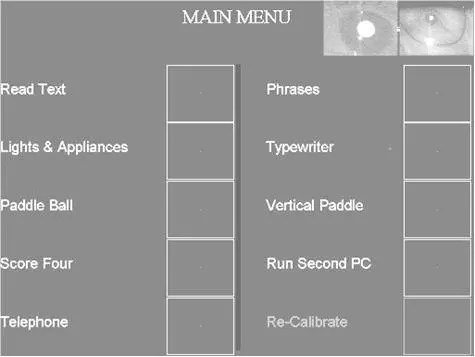 Menus of the Eyegaze System